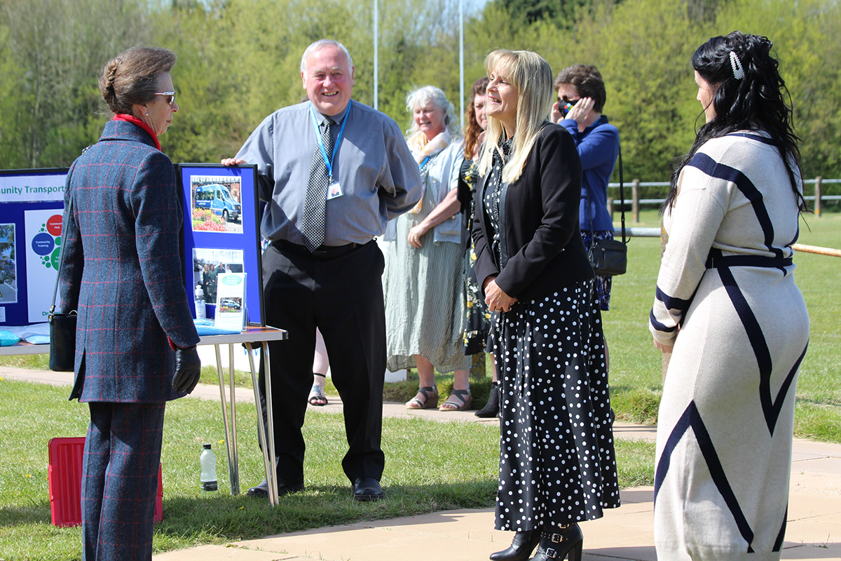 Droitwich CVS volunteers talking to HRH The Princess Royal